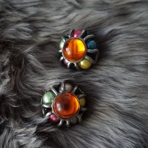 Vintage Colorful Bead Clip On Earrings